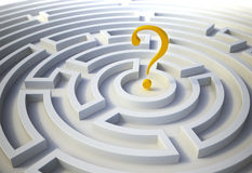 Question mark inside a maze Stock Images