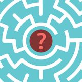 Question mark inside maze. Red question mark in centre of circular maze on turquoise blue background. Confusion, problem and decision concept. Flat design Royalty Free Stock Photography