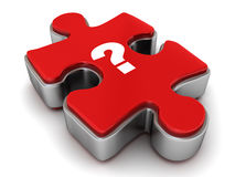 Question mark on jigsaw puzzle. Piece on white background stock illustration
