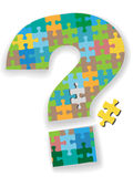 Question mark jigsaw puzzle piece search solution. A colorful question mark jigsaw puzzle with missing piece as a symbol of your search solution Royalty Free Stock Photos