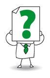 Question mark. John Doe holds a sheet of paper on which is drawn a Question mark. he questioned Stock Images