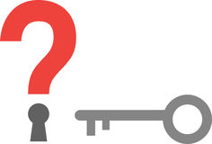 Question mark keyhole and key Stock Images