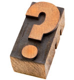 Question mark in letterpress type Royalty Free Stock Images