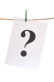 Question Mark on the linen cord Stock Photography