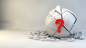 A question mark located on a cracked sphere in the room. Stock Image