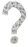 Question mark made of banknotes Stock Photo