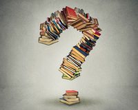 Question mark made of books. Ask search answer concept Stock Image