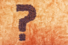 Question Mark made of Coffee Beans Stock Images