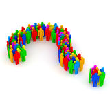Question Mark made from colorful 3d people Royalty Free Stock Image