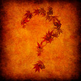 Question mark made by leaves. Abstract yellow grunge autumn with question mark made by leaves Stock Image
