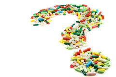 Question mark made of pills Royalty Free Stock Images