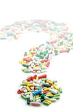 Question mark made of pills Stock Images
