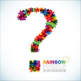 Question mark made from puzzle pieces. Question mark made from colorful puzzle pieces Royalty Free Stock Photos