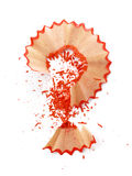 Question-mark made of red pencil shavings Stock Photo