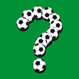 Question mark made from soccer balls. Royalty Free Stock Photography
