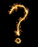Question mark made of sparkler Royalty Free Stock Image