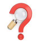 Question mark and magnifier Royalty Free Stock Image