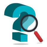 Question mark with magnifyin glass. Icon graphic design,  illustration eps10 Stock Images