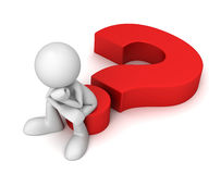 Question mark and man concept  3d illustration. Question mark and man 3d illustration  on white background Royalty Free Stock Images