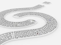 Question mark maze. Thee people lost in a maze Royalty Free Stock Images