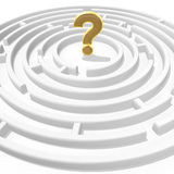 Question mark in maze. 3d golden question mark in the maze center Stock Image
