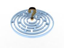 Question Mark In Maze. On the white Royalty Free Stock Photos