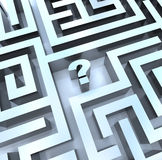 Question Mark in Maze - Find the Answer. A question mark in the middle of a maze, symbolizing the need to search for an answer Royalty Free Stock Photo