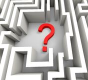 Question Mark In Maze Shows Thinking Image stock
