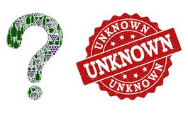Question Mark Mosaic of Wine Bottles and Grape and Grunge Stamp vector illustration