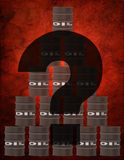 Question Mark and Oil Barrels Stock Photos