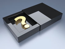 Question mark in opened box. Question mark in black glossy opened box. 3d render illustration Stock Images