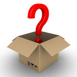 Question mark in an opened parcel. 3d question mark symbol in an open carton box Royalty Free Stock Images