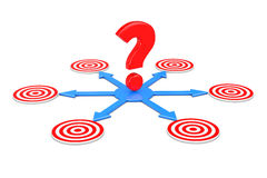 Question Mark over Blue Arrows as Different Ways to Targets. 3d. Question Mark over Blue Arrows as Different Ways to Targets on a white background. 3d Rendering Stock Image