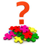 Question mark over jigsaw. Colorful question mark over pile of jigsaw pieces, isolated on white background Stock Images