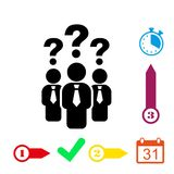 Question mark over people icon stock vector illustration Stock Photos