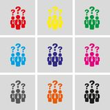 Question mark over people icon stock vector illustration. Set icon flat design style vector illustration Stock Photo