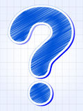 Question-mark over squared sheet. Question-mark - blue sing over squared sheet of paper royalty free stock images