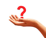 Question mark on the palm Royalty Free Stock Images