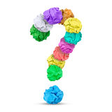 Question mark. Paper balls forming a question mark, white background Stock Photography