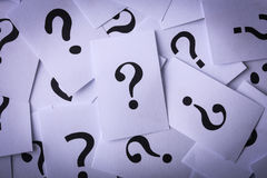Question Mark Paper. Closeup shot of a lot of paper with Question mark Royalty Free Stock Photos