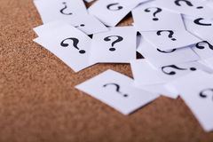 Question Mark Paper. Closeup shot of a lot of paper with Question mark Royalty Free Stock Photography