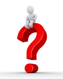 Question mark with person on it. 3d question mark symbol and a person sitting on top of it Stock Images