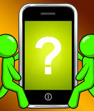 Question Mark On Phone Displays Help Confused And Doubt Royalty Free Stock Photos