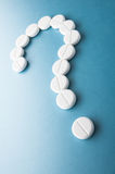 Question mark  from pills Stock Photo