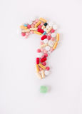 Question mark of pills Stock Photos