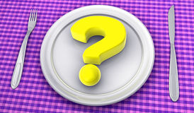 Question mark on the plate Stock Photography