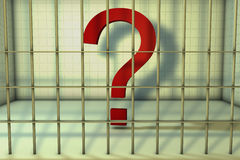 Question mark in prison Royalty Free Stock Image