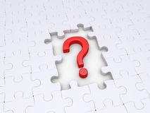 Question mark and puzzle pieces. Puzzle pieces but some are missing and question mark Royalty Free Stock Images