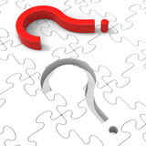 Question Mark Puzzle Shows Asking Questions. And Inquiring royalty free illustration