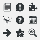 Question mark and puzzle signs. File, arrow. Stock Images